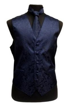 Men's Navy Blue Paisley Vest with Neck Tie-Men's Vests-ABC Fashion