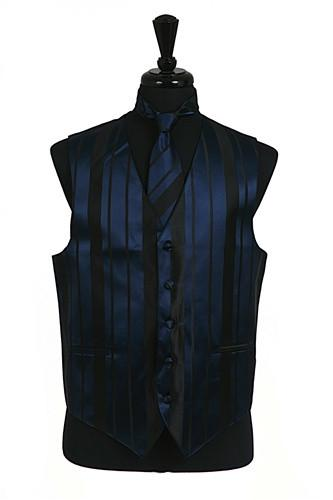 Men's Navy Blue Striped Vest with Neck Tie and Bow Tie-Men's Vests-ABC Fashion