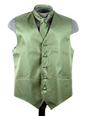 Men's Olive Green Striped Vest with Neck Tie-Men's Vests-ABC Fashion