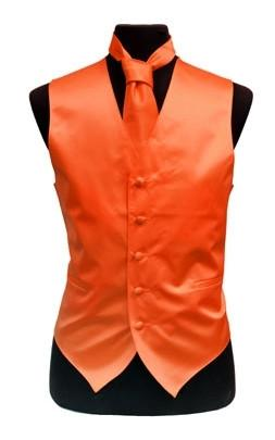 Men's Orange Satin Vest with Neck Tie-Men's Vests-ABC Fashion