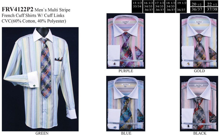 Men's Pastel Colored Striped Dress Shirts with Tie, Hanky, Cufflinks-Men's Dress Shirts-ABC Fashion