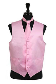 Men's Pink Satin Vest with Neck Tie-Men's Vests-ABC Fashion