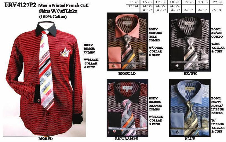 Men's Printed French Cuff Dress Shirts with Tie, Hanky, Cufflinks-Men's Dress Shirts-ABC Fashion