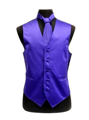 Men's Purple Satin Vest with Neck Tie-Men's Vests-ABC Fashion