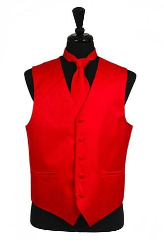 Men's Red Paisley Vest with Neck Tie-Men's Vests-ABC Fashion