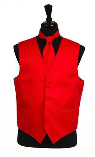 Men's Red Satin Vest with Neck Tie-Men's Vests-ABC Fashion