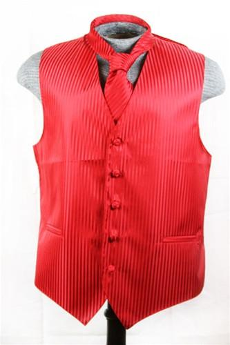 Men's Red Striped Vest with Neck Tie-Men's Vests-ABC Fashion