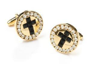 Mens Religious Gold Cufflinks with Black Cross-Men's Cufflinks-ABC Fashion