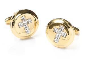 Mens Religious Gold Cufflinks with Cross and Clear Crystals-Men's Cufflinks-ABC Fashion