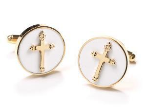Mens Religious Gold Cufflinks with Cross-Men's Cufflinks-ABC Fashion