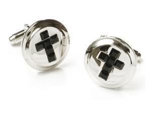 Mens Religious Silver Cufflinks with Black Cross-Men's Cufflinks-ABC Fashion