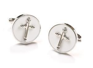 Mens Religious Silver Cufflinks with Cross-Men's Cufflinks-ABC Fashion