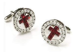 Mens Religious Silver Cufflinks with Red Cross-Men's Cufflinks-ABC Fashion