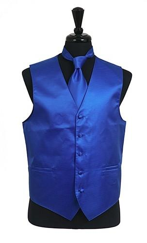 Men's Royal Blue Satin Vest with Neck Tie-Men's Vests-ABC Fashion