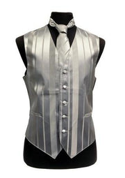 Men's Silver Striped Vest with Neck Tie and Bow Tie-Men's Vests-ABC Fashion