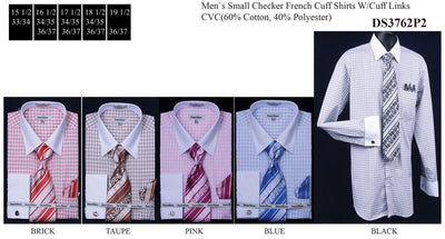 Men's Small Checkered Dress Shirts with Tie, Hanky, Cufflinks-Men's Dress Shirts-ABC Fashion