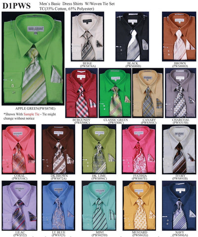 Men's Solid Dress Shirts with Woven Tie, Handkerchief-Men's Dress Shirts-ABC Fashion