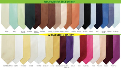 Mens Solid Ties and Hanky - 36 Colors-Men's Formal Wear-ABC Fashion
