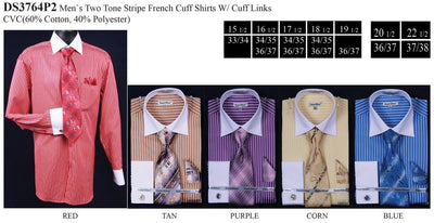 Men's Striped Dress Shirts with Tie, Hanky, Cufflinks-Men's Dress Shirts-ABC Fashion