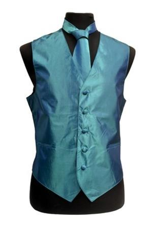 Men's Teal Blue Vest with Neck Tie, Bow Tie, Hanky-Men's Vests-ABC Fashion