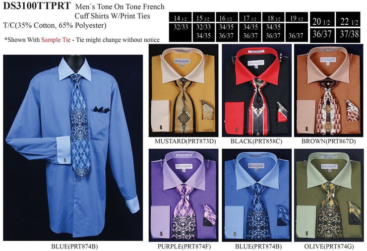 Men's Tone on Tone French Cuff Dress Shirts with Tie and Hanky-Men's Dress Shirts-ABC Fashion