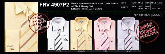 Men's Trimmed French Cuff Shirts with Tie and Hanky-Men's Formal Wear-ABC Fashion