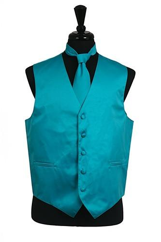 Men's Turquoise Satin Vest with Neck Tie-Men's Vests-ABC Fashion