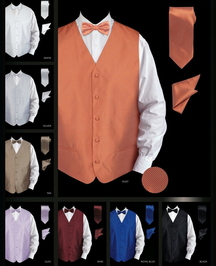 Men's Twill Textured Vest with Tie, Bow Tie, and Pocket Square-Men's Vests-ABC Fashion