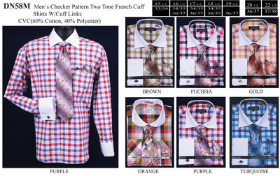 Men's Two Tone Checkered Dress Shirts with Tie, Hanky, Cufflinks-Men's Dress Shirts-ABC Fashion