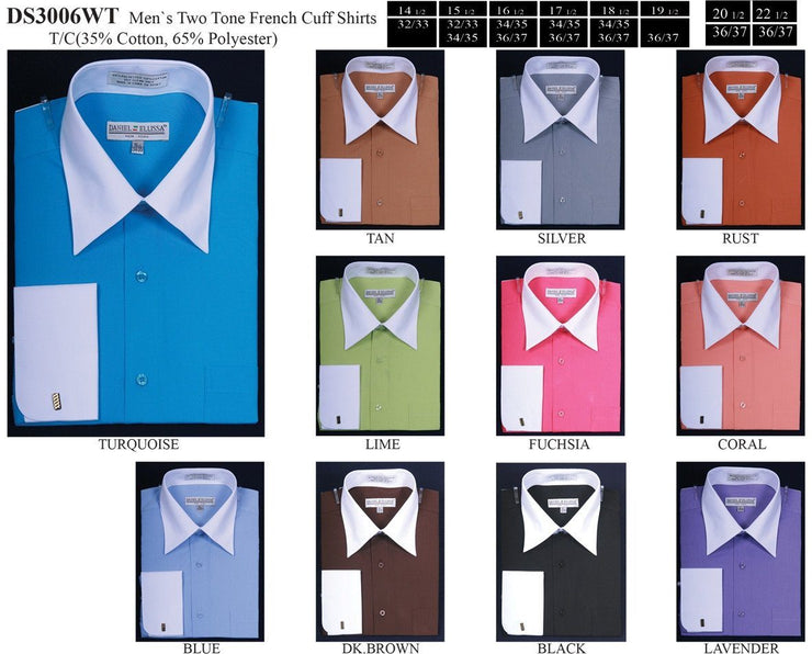 Men's Two Tone French Cuff Dress Shirts-Men's Dress Shirts-ABC Fashion