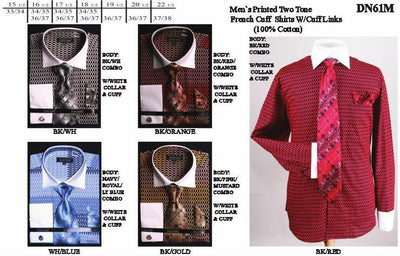 Men's Two Tone Printed Dress Shirts with Tie, Hanky, Cufflinks-Men's Dress Shirts-ABC Fashion