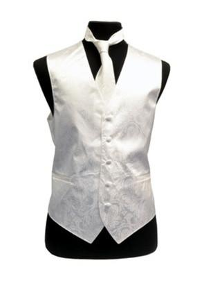 Men's White Paisley Vest with Neck Tie-Men's Vests-ABC Fashion