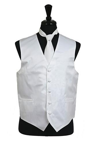 Men's White Satin Vest with Neck Tie-Men's Vests-ABC Fashion