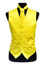 Men's Yellow Satin Vest with Neck Tie-Men's Vests-ABC Fashion