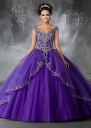 Metallic Embroidered Quinceanera Dress by Mori Lee Valencia 60054-Quinceanera Dresses-ABC Fashion