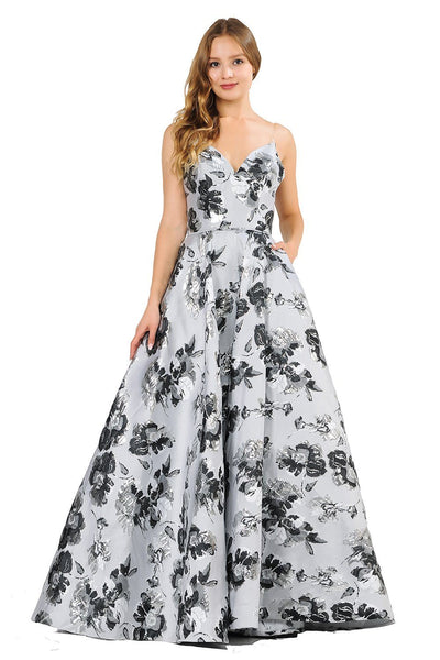 Metallic Floral Print Long Strapless Dress by Poly USA 8484-Long Formal Dresses-ABC Fashion