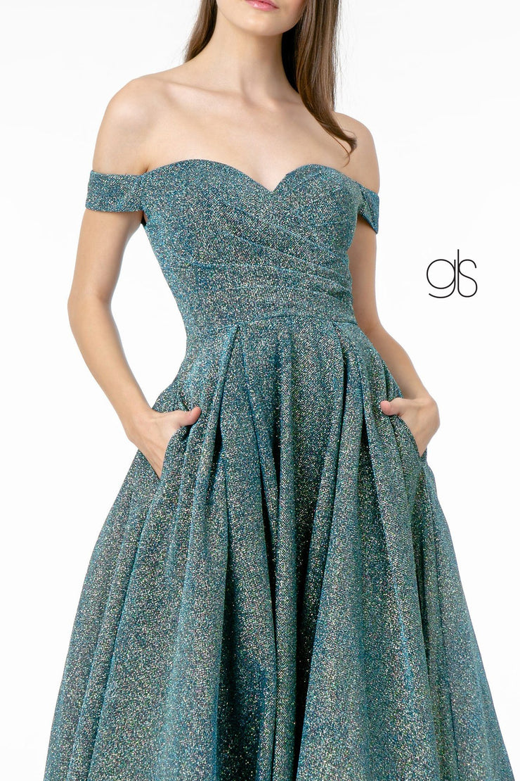 Metallic Glitter Long Off Shoulder Dress by Elizabeth K GL1827