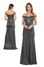 Metallic Glitter Long Off the Shoulder Dress by Poly USA 8482-Long Formal Dresses-ABC Fashion
