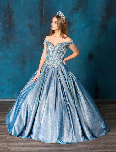 Metallic Glitter Off Shoulder Quinceanera Dress by Calla SYL19015