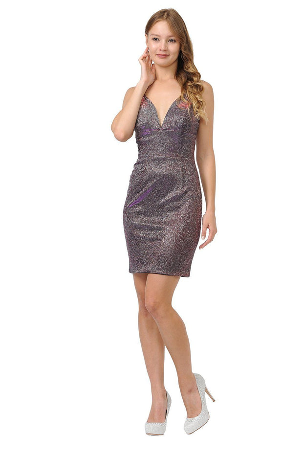 Metallic Glitter Short Deep V-Neck Dress by Poly USA 8218-Short Cocktail Dresses-ABC Fashion