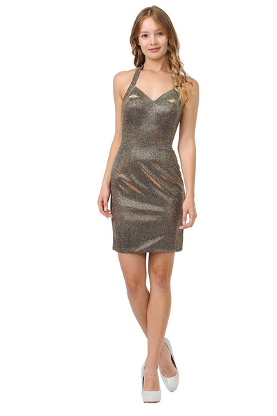 Metallic Glitter Short Halter Dress by Poly USA 8216-Short Cocktail Dresses-ABC Fashion