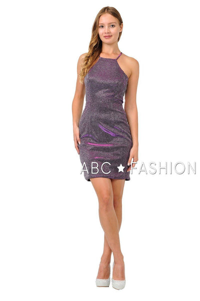 Metallic Glitter Short High-Neck Dress with Cutout Back by Poly USA 8214-Short Cocktail Dresses-ABC Fashion