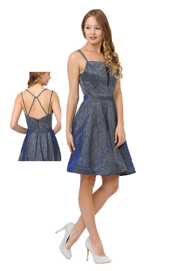 Metallic Glitter Short Illusion Dress with Side Pockets by Poly USA 8442-Short Cocktail Dresses-ABC Fashion