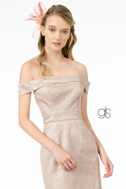 Metallic Glitter Short Off Shoulder Dress by Elizabeth K GS2856