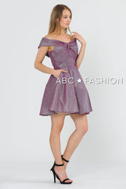 Metallic Glitter Short Off the Shoulder Dress by Poly USA 8356-Short Cocktail Dresses-ABC Fashion