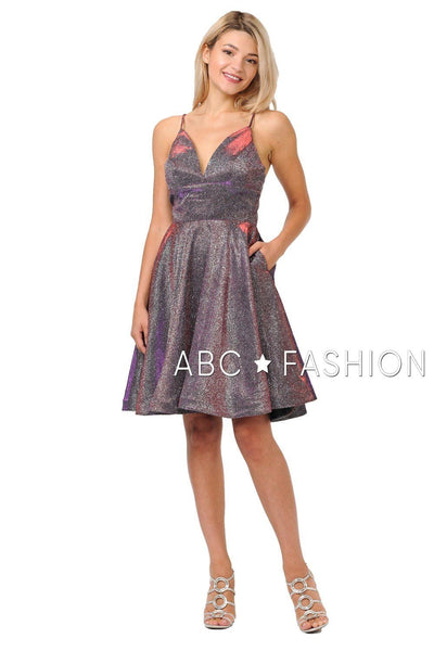 Metallic Glitter Short V-Neck Dress with Side Pockets by Poly USA 8304-Short Cocktail Dresses-ABC Fashion
