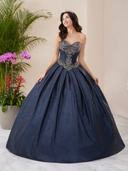 Metallic Glitter Strapless Quinceanera Dress by Fiesta Gowns 56404