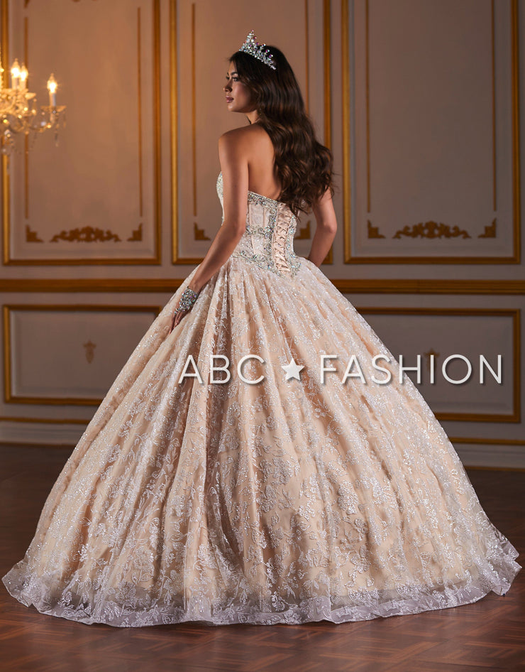 Metallic Lace Strapless Quinceanera Dress by Fiesta Gowns 56375-Quinceanera Dresses-ABC Fashion