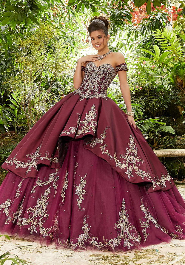 Metallic Lace Sweetheart Quinceanera Dress by Mori Lee Vizcaya 89241