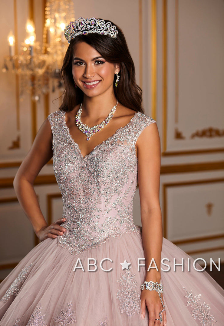 Metallic Lace V-Neck Quinceanera Dress by House of Wu 26927-Quinceanera Dresses-ABC Fashion